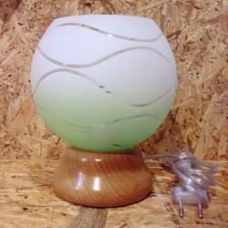 Stolní lampička se zeleno-bílým sklem